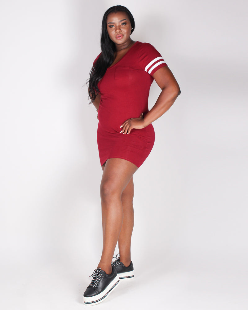 Fashion Q Shop Q More Joy Plus Bodycon Dress (Burgundy) XD52646S