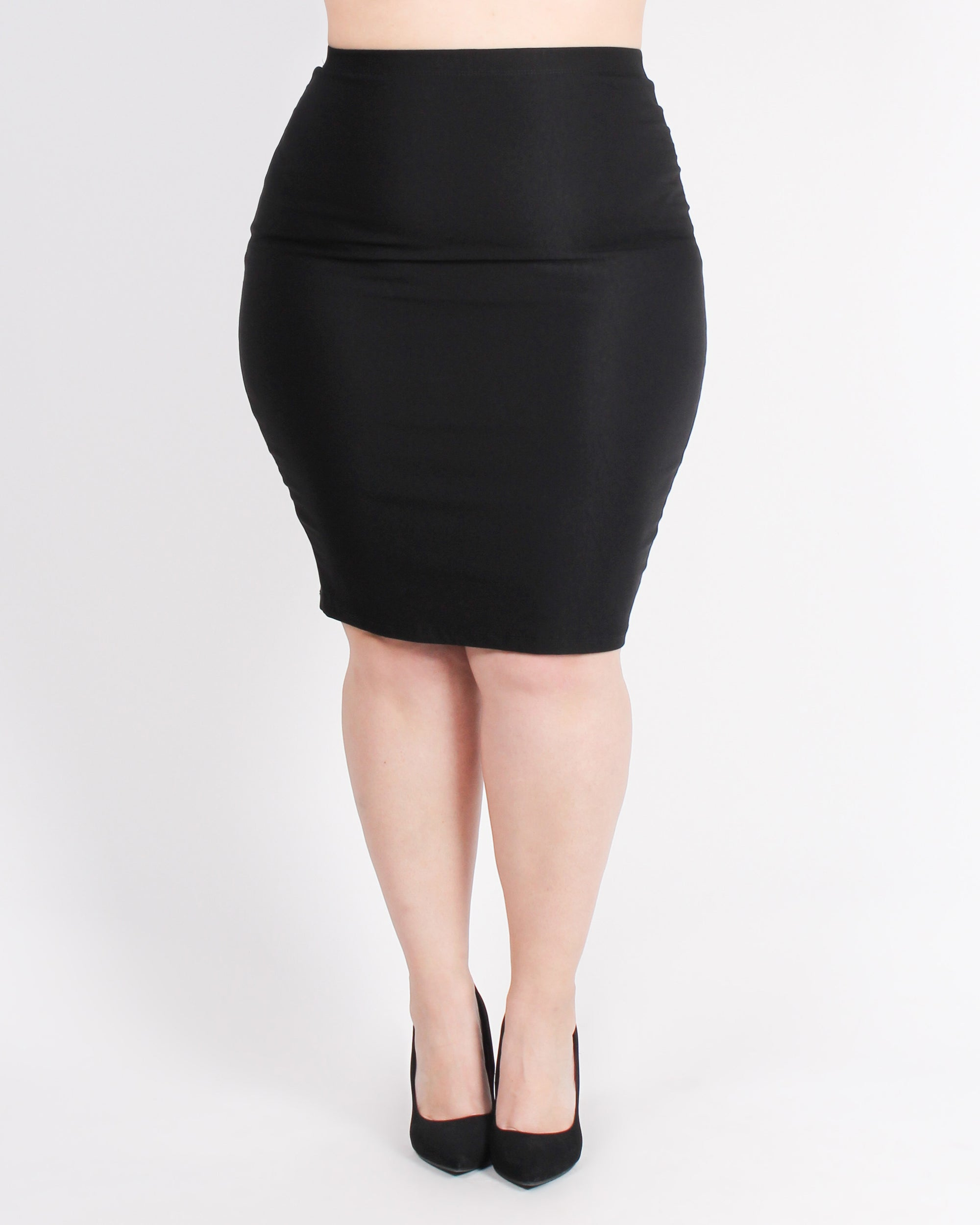 Woman Up and Get it Done Plus Pencil Skirt (Black)