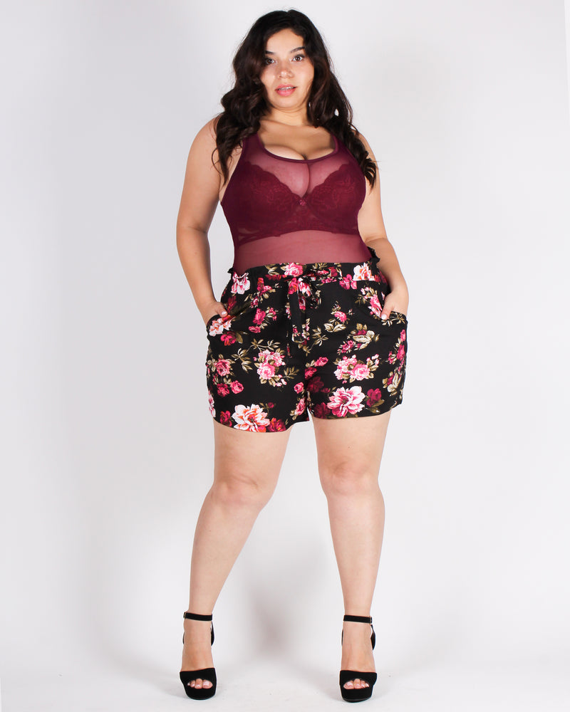 Are You Meshing with Me Plus Bodysuit (Merlot)