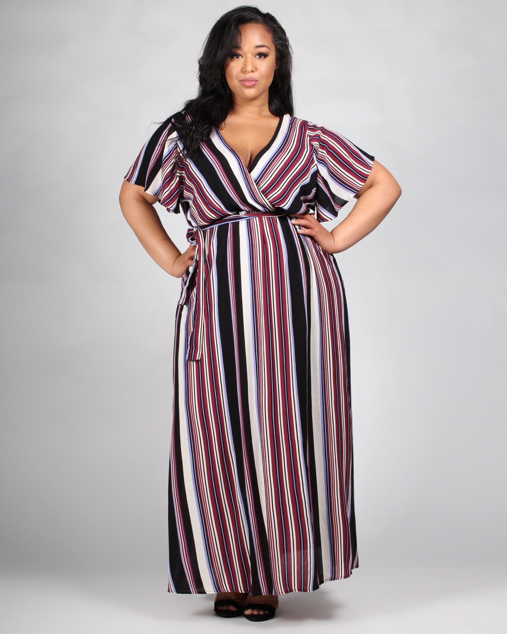 Apple of My Eyes Striped Plus Maxi Dress
