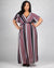 Apple of My Eyes Striped Plus Maxi Dress (Burgundy)
