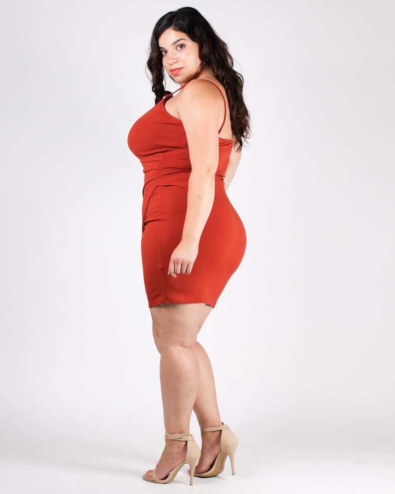 Love Me Harder Plus Bodycon Dress (Rust)