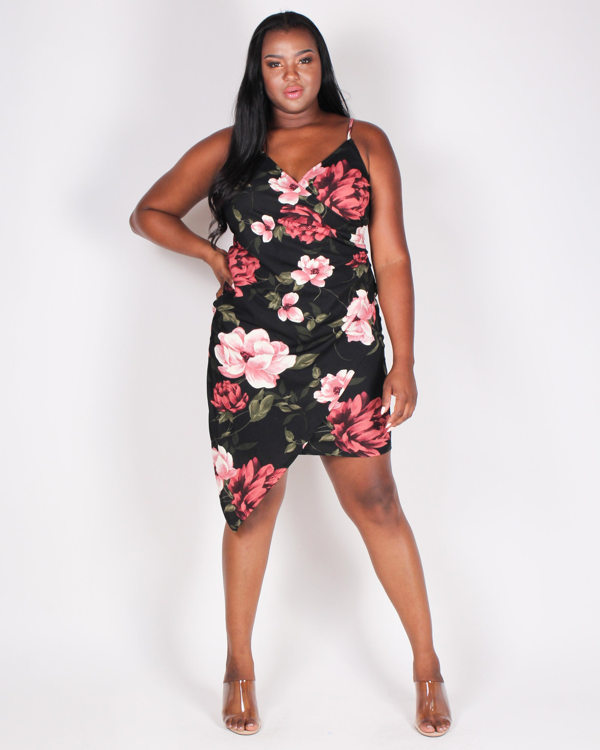 Fashion Q Shop Q Determined to Rise Floral Plus Bodycon Dress (Black) Z9773P