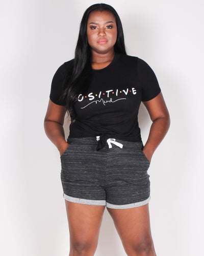 "Fashion Q Shop Q You Gotta Have a ""P.O.S.I.T.I.V.E Mind"" Plus Crop Top (Black) ZA1573"