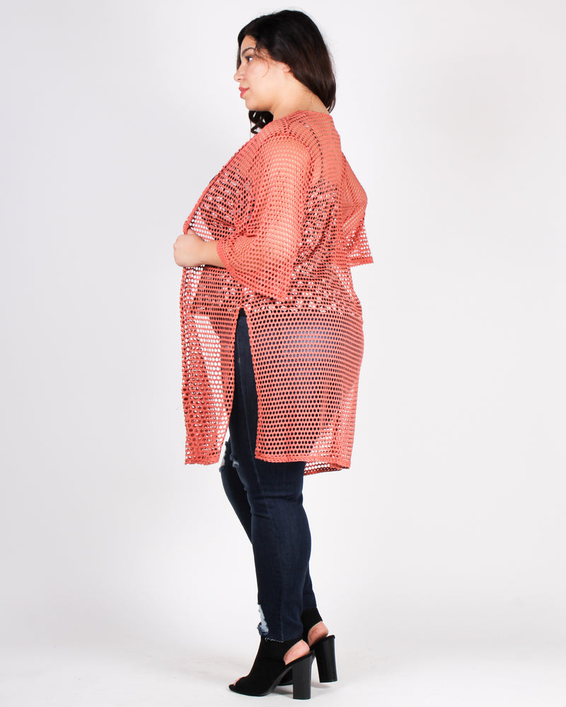 Tomorrow May Rain, So Follow the Sun Plus Cardigan (Salmon)