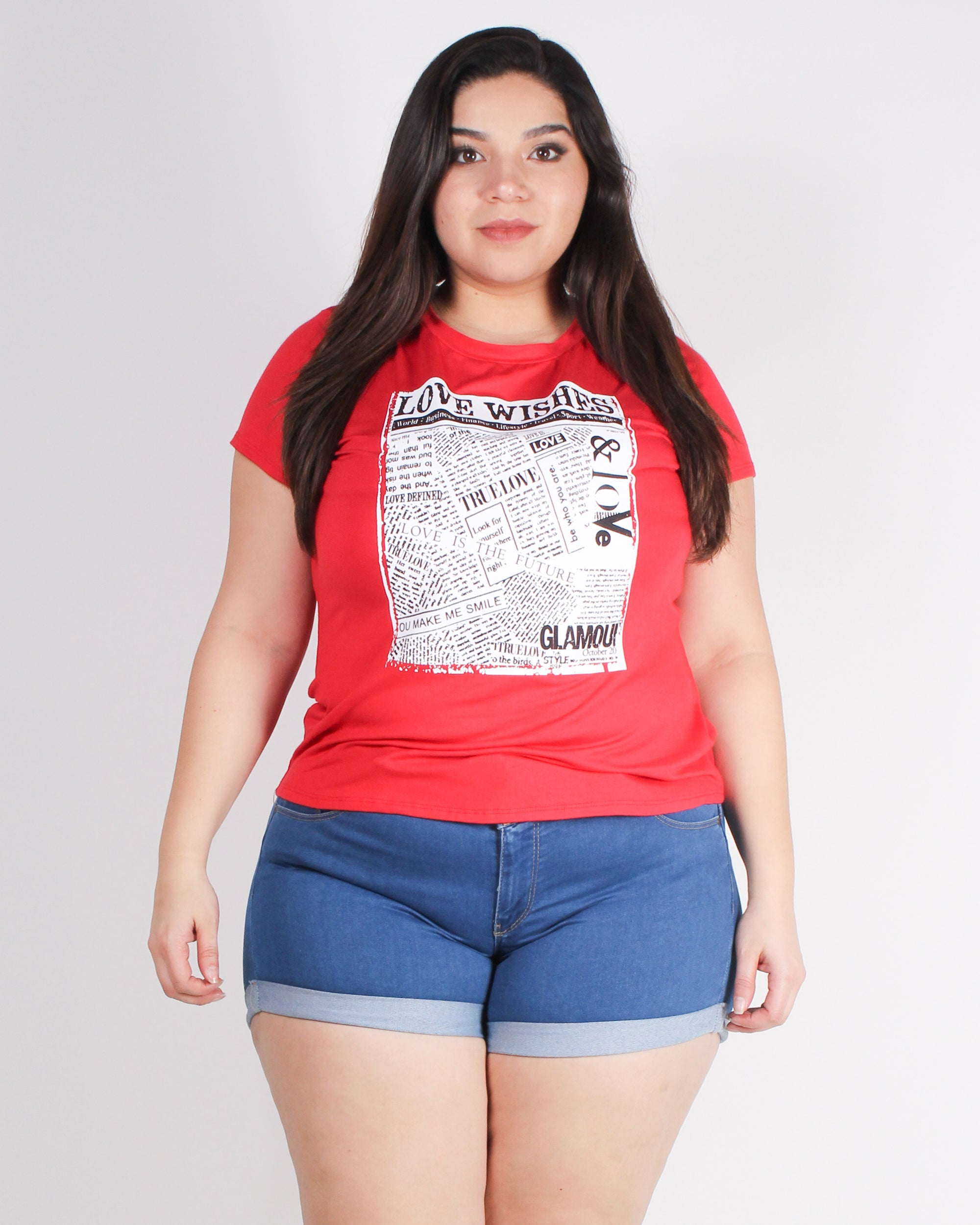 Not So Secret Love Wishes Plus Graphic Top (Red)