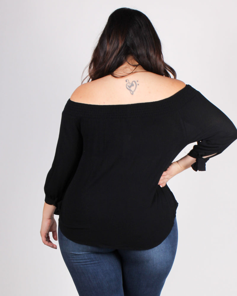 Fashion Q Shop Q Seek Magic Off the Shoulder Blouse (Black) ZB10069