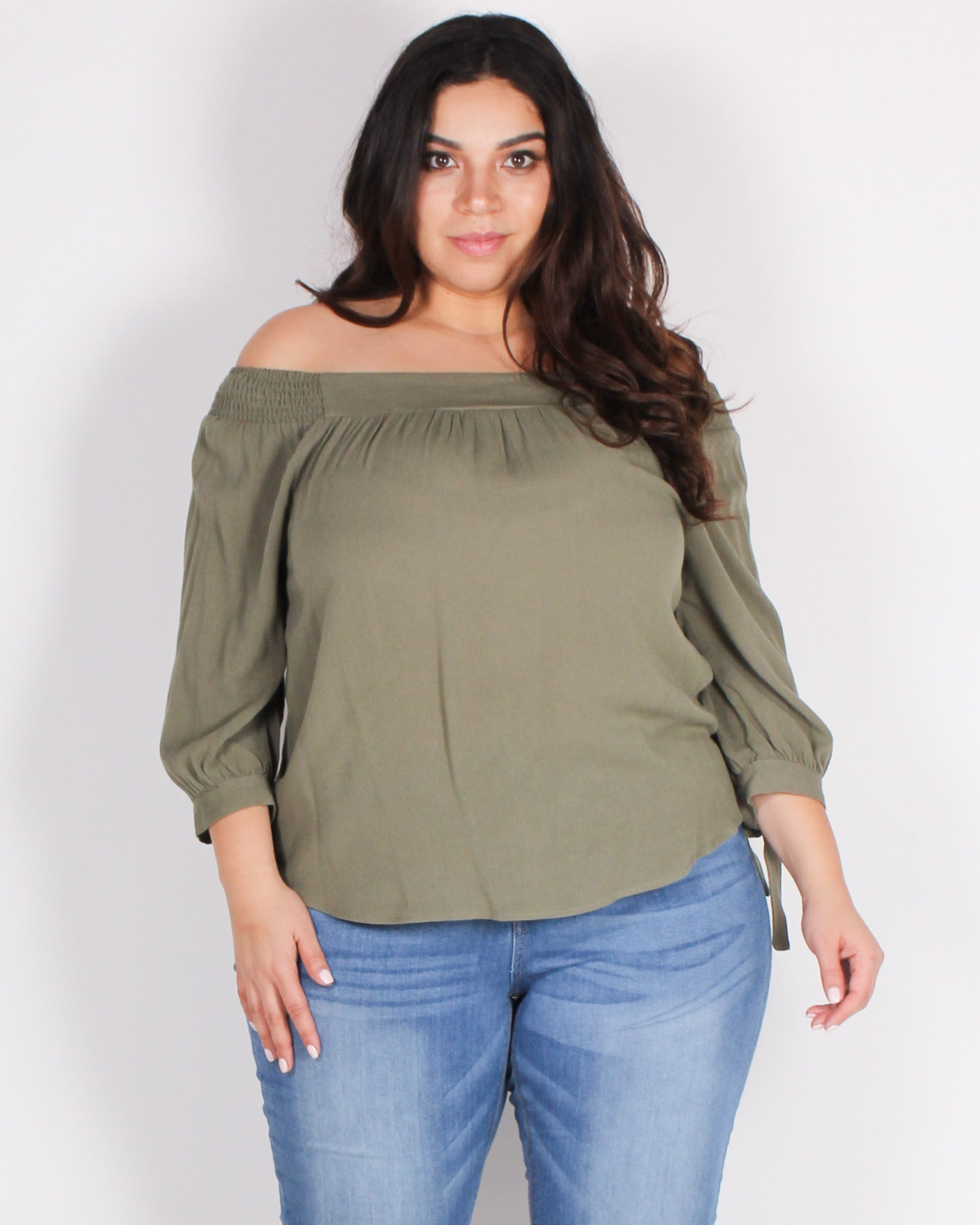 Fashion Q Shop Q Seek Magic Off the Shoulder Blouse (Olive) ZB10069