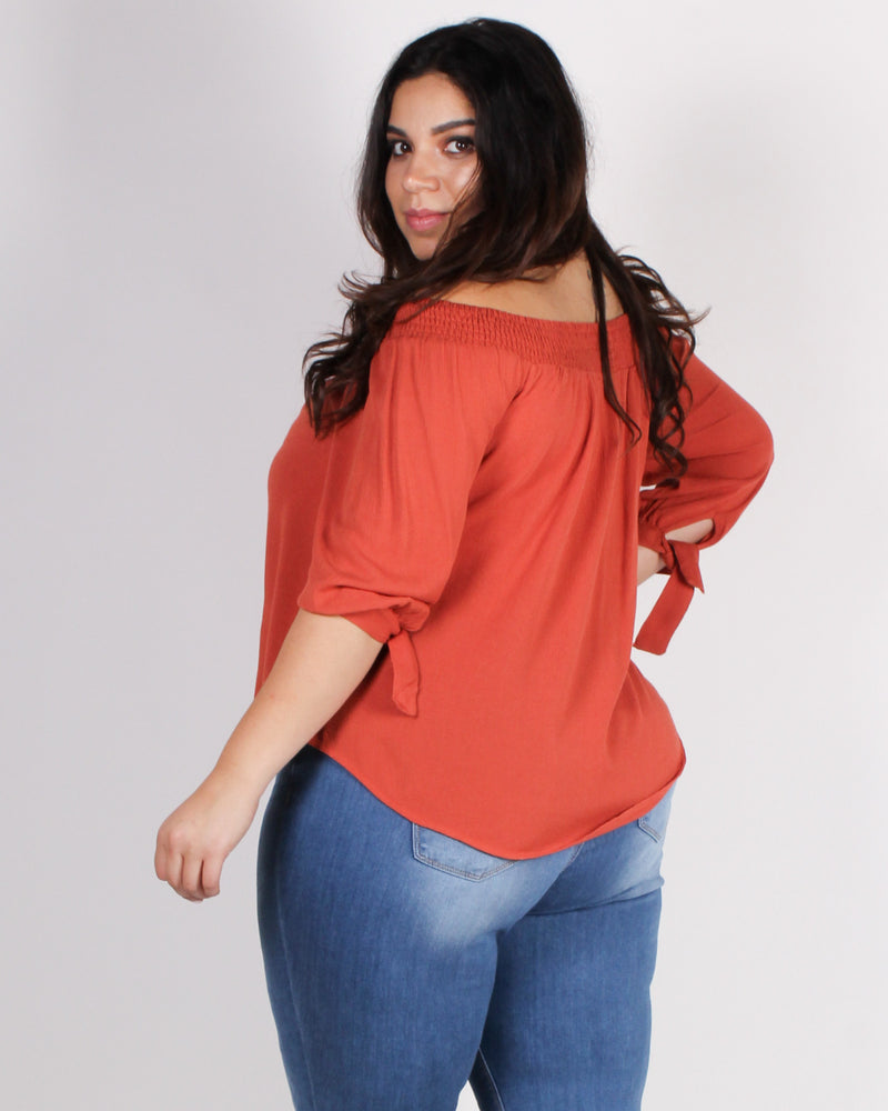 Fashion Q Shop Q Seek Magic Off the Shoulder Blouse (Rust) ZB10069