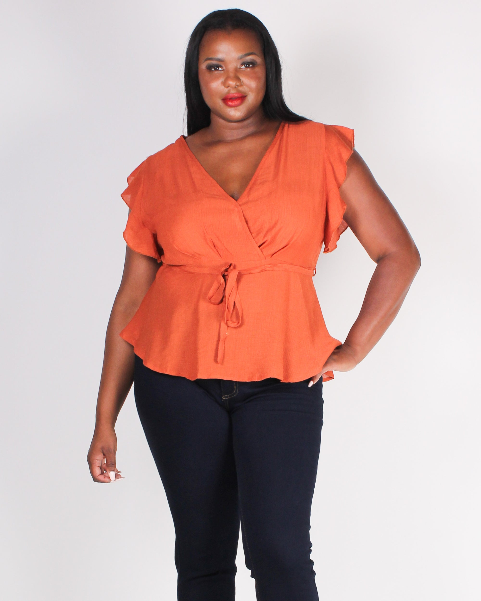 Fashion Q Shop Q The Power is Yours Flutter Sleeve Plus Blouse (Rust) ZB10086