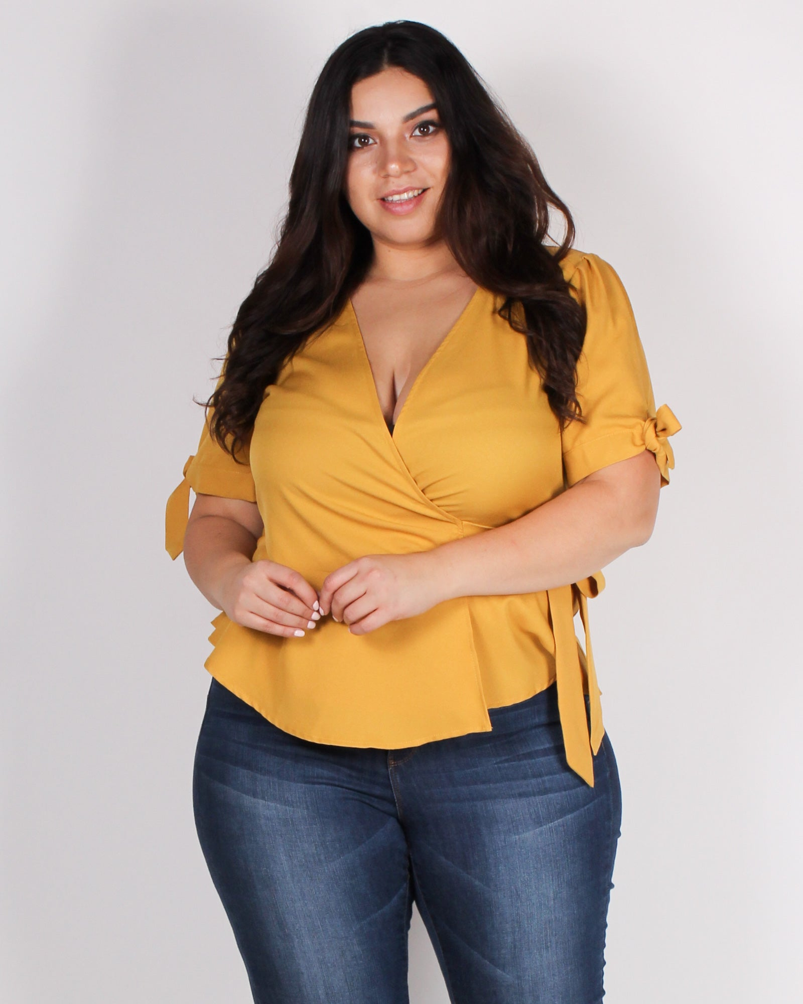 Fashion Q Shop Q Endless Potential Peplum Plus Blouse (Dark Mustard) ZB10095