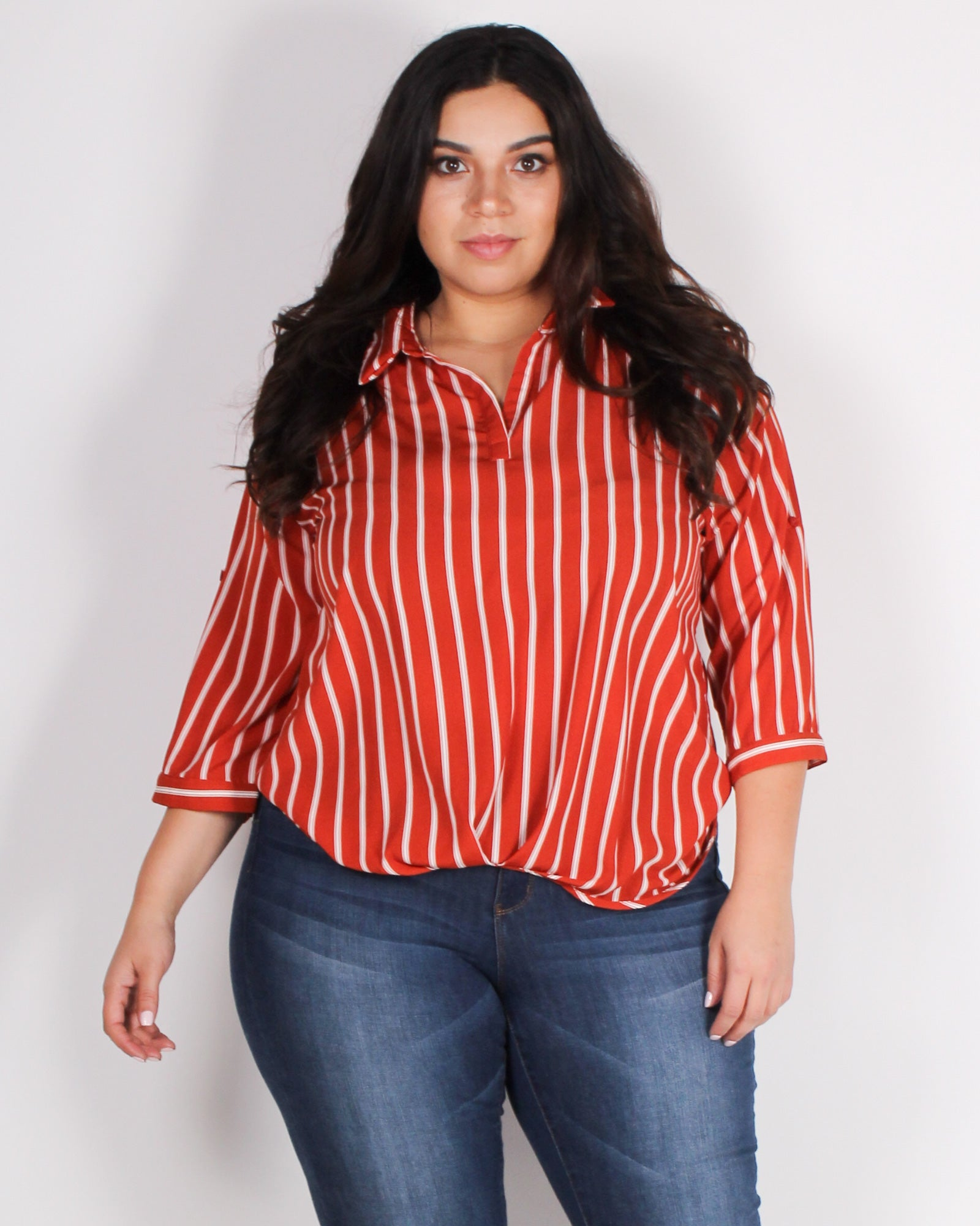 Fashion Q Shop Q Treat Me Like a Lady Striped Plus Blouse (Rust) ZB10096F2