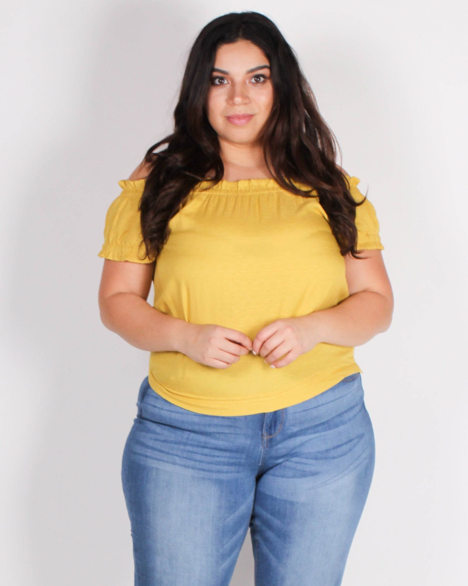 Fashion Q Shop Q Get Chosen Off the Shoulder Plus Blouse (Mustard) ZB10128