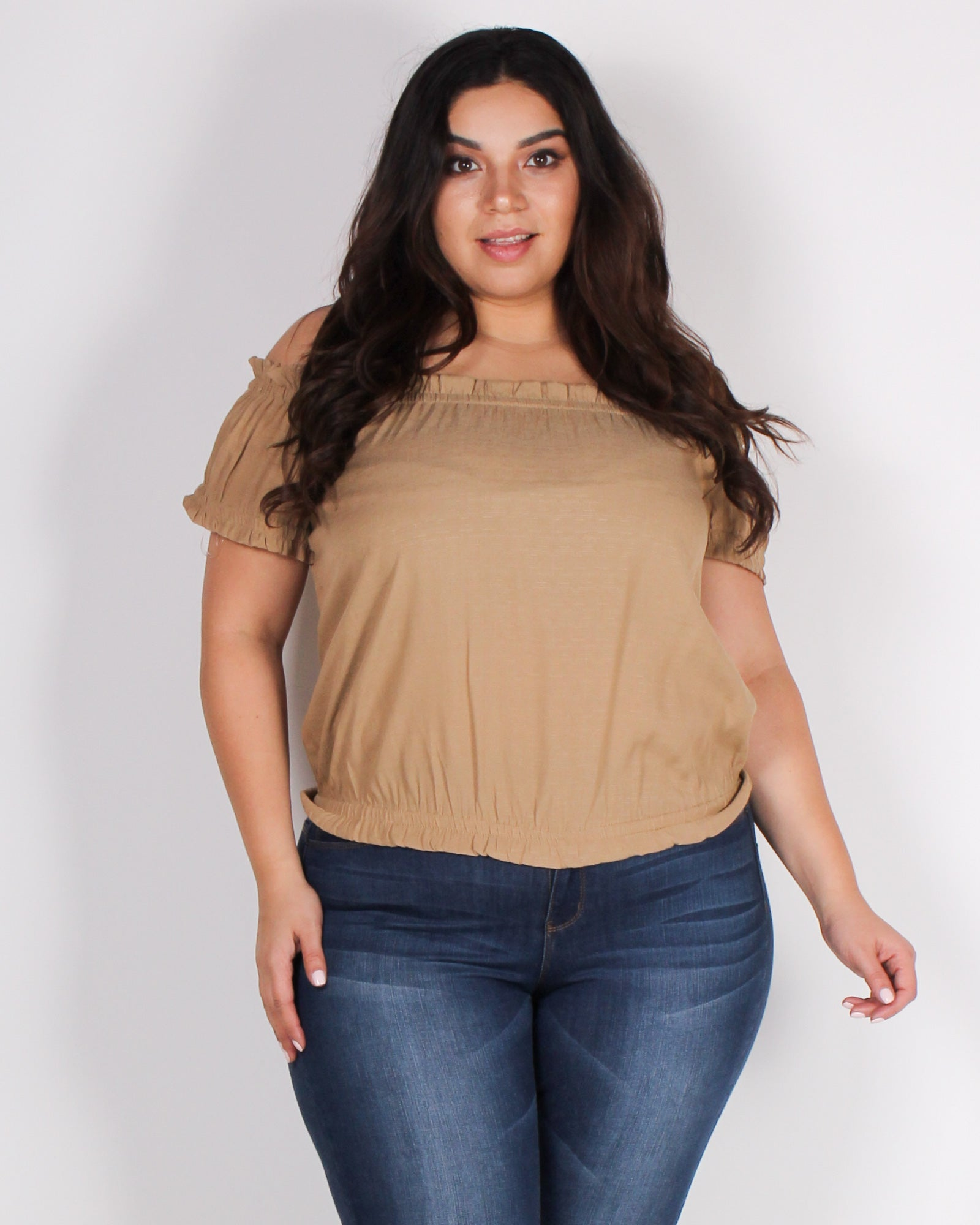 Fashion Q Shop Q Get Chosen Off the Shoulder Plus Blouse (Taupe) ZB10128
