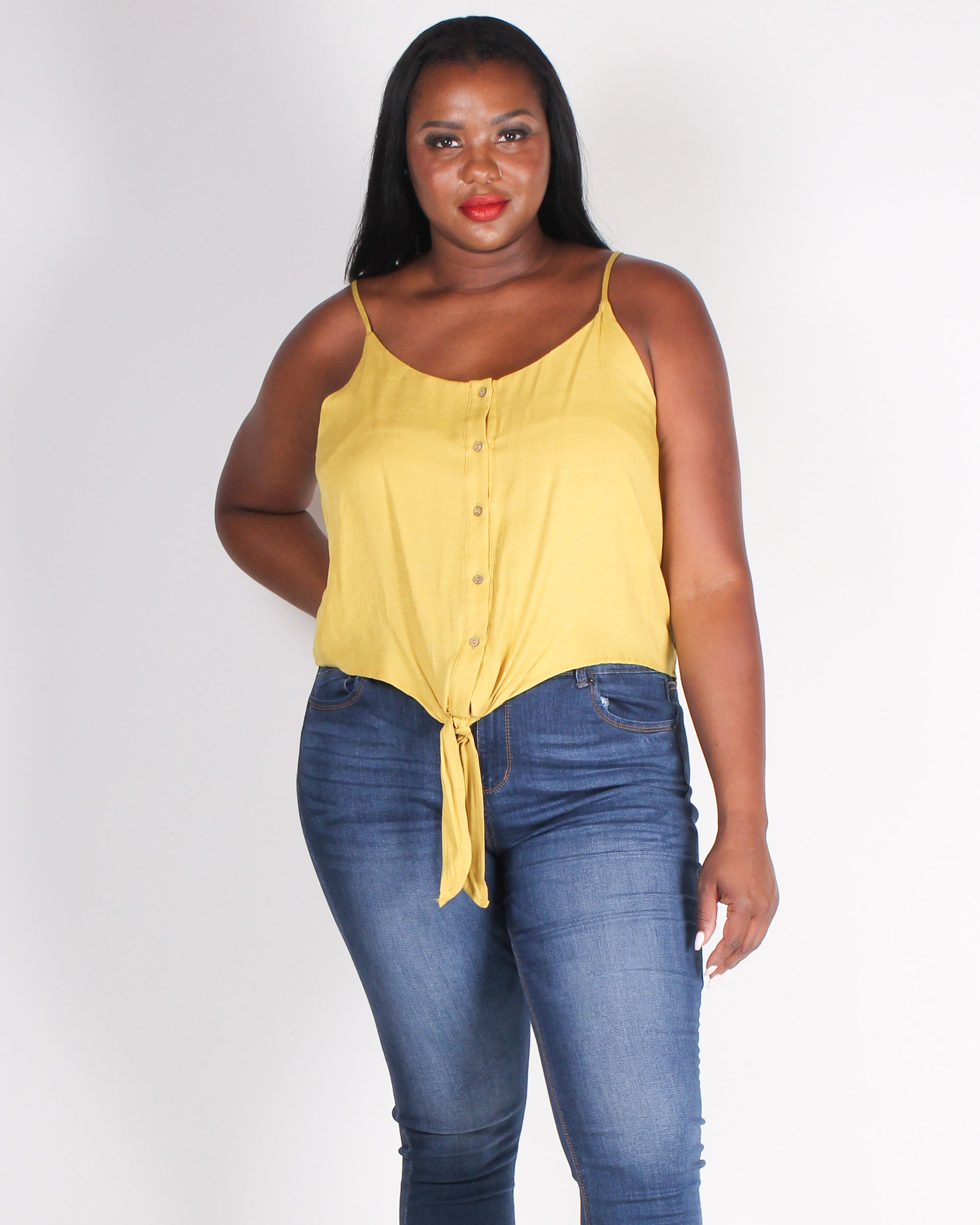 Fashion Q Shop Q The World Needs a You Plus Tank (Light Mustard) ZB10159
