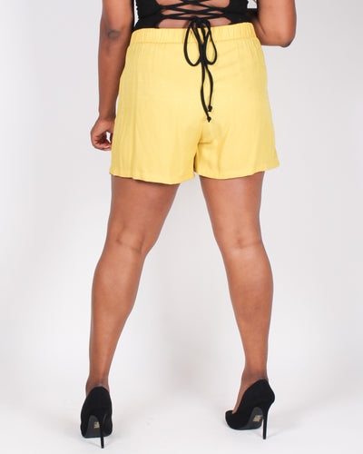 Fashion Q Shop Q Exciting Awaits Plus Shorts (Mustard) ZB10333