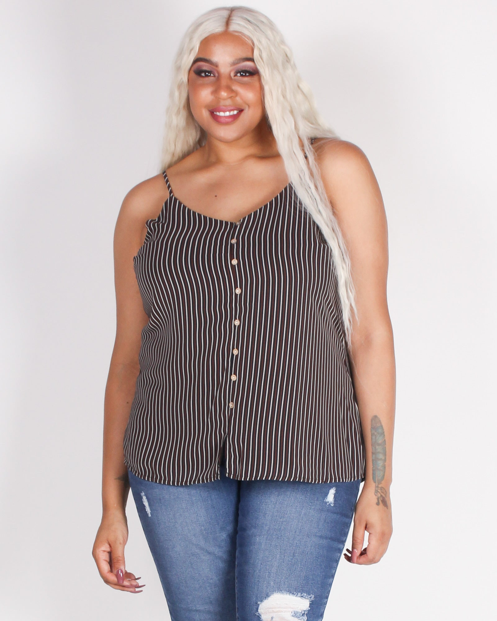 Fashion Q Shop Q How's it Going Striped Plus Tank (Black) ZB10372F
