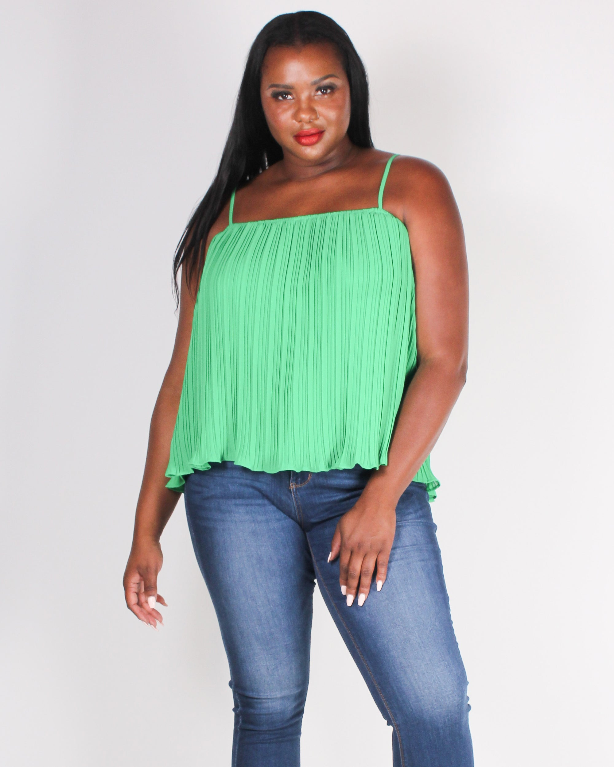 Fashion Q Shop Q Moments are Pleating Plus Blouse (Lime Green)