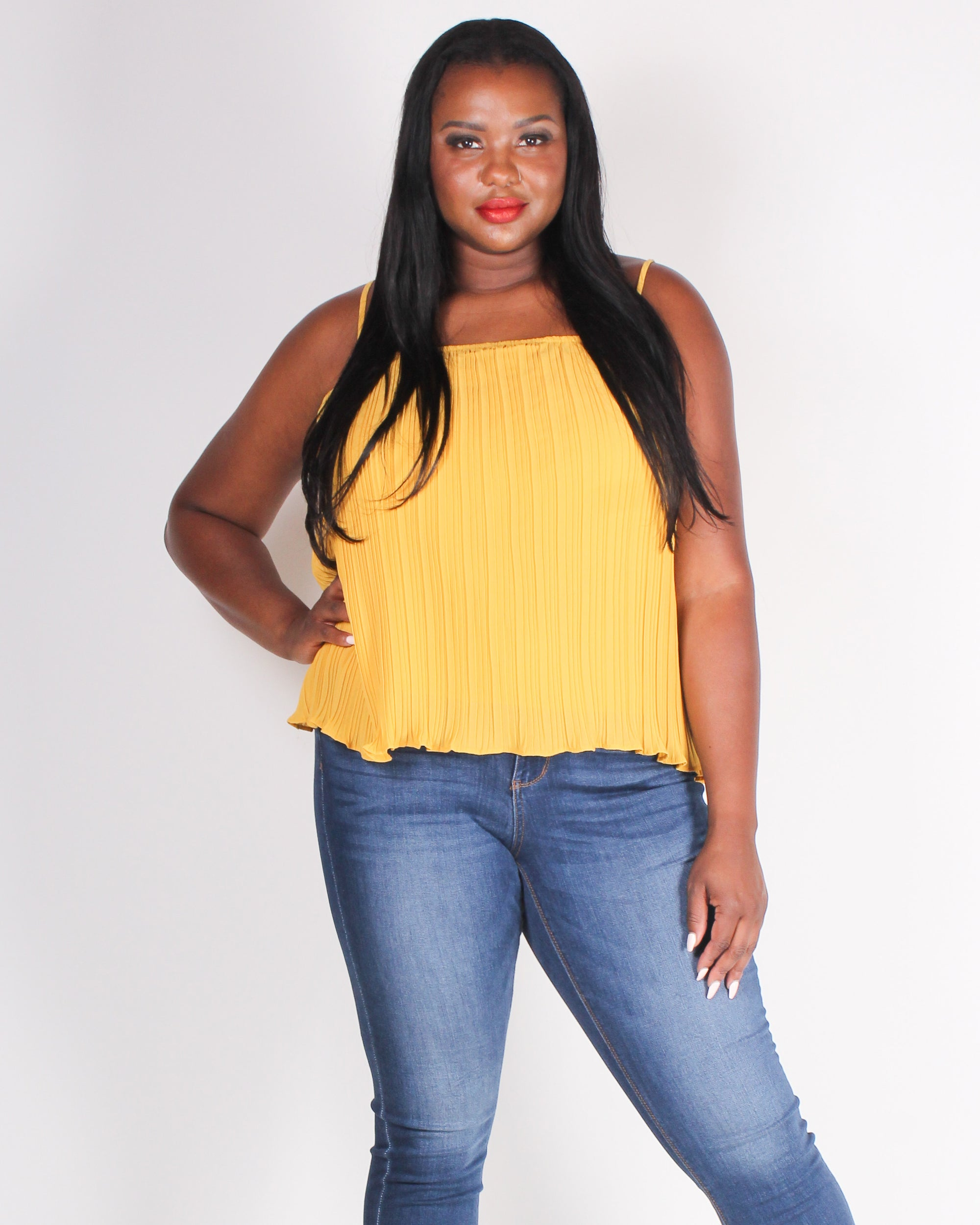 Fashion Q Shop Q Moments are Pleating Plus Blouse (Mustard)