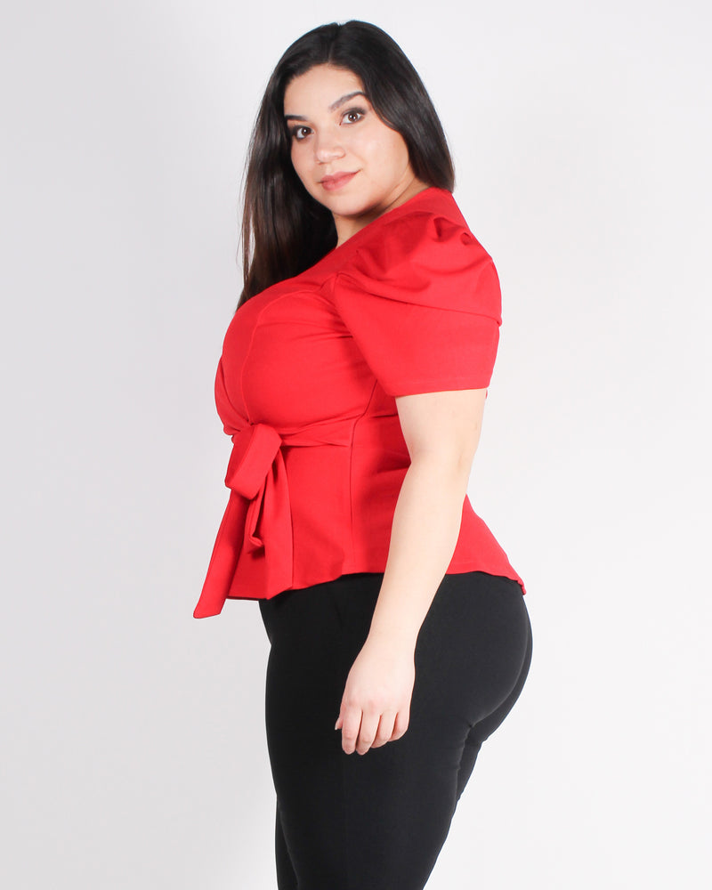 Fashion Q Shop Q Yea, You Want This Plus Short Sleeve Peplum Top (Red) ZB10568