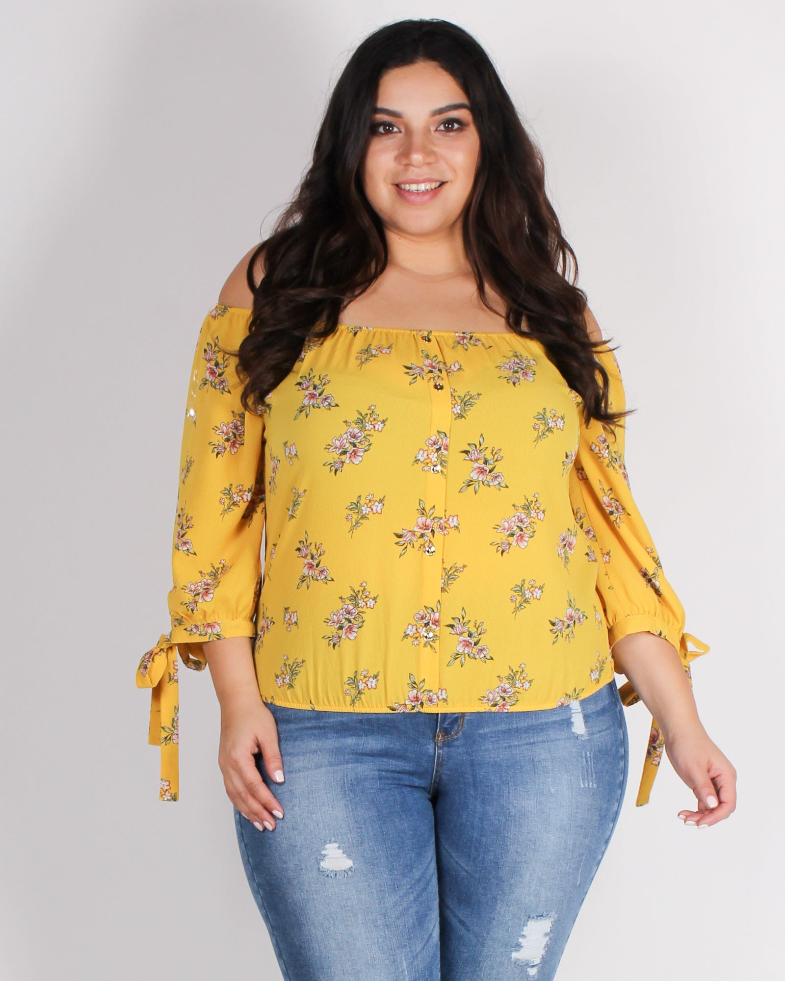 Fashion Q Shop Q Have a Floral-istic Day Plus Blouse (Mustard) ZB9244F24