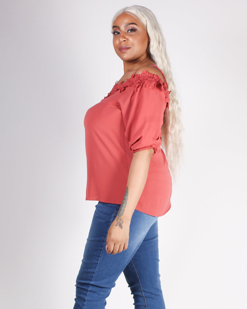 Floral Enchantment Off the Shoulder Plus Blouse (Terracotta)