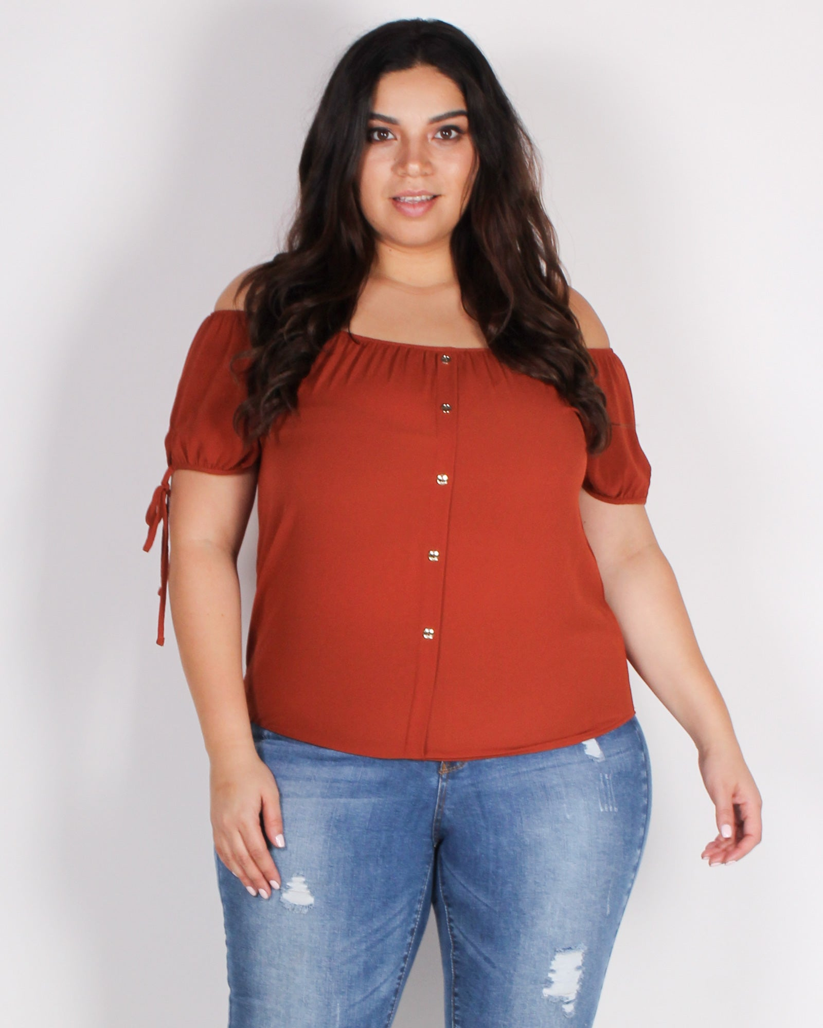Fashion Q Shop Q It's On, Time to Make the Hustle Happen Blouse (Rust) ZB9517