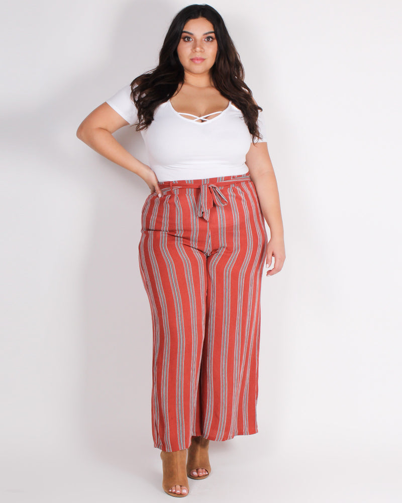 Fashion Q Shop Q YOLO All Day Pants- Waistline: High-rise (Rust) ZB9827F3