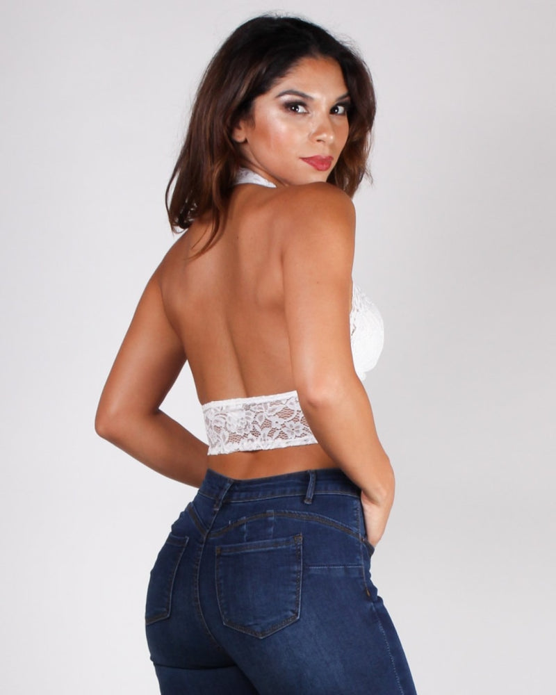A Dose Of Lace Halter (White) White / S Tops