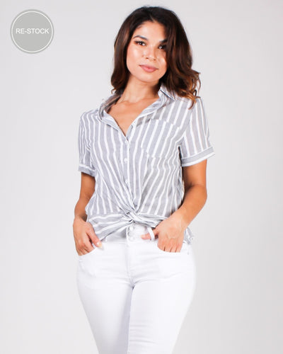 A Striping Good Time Button-Up Top Grey / S Tops
