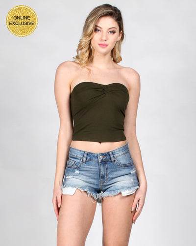 Fashion Q Shop Q And Only You Twisted Knot Tube Top RT62004