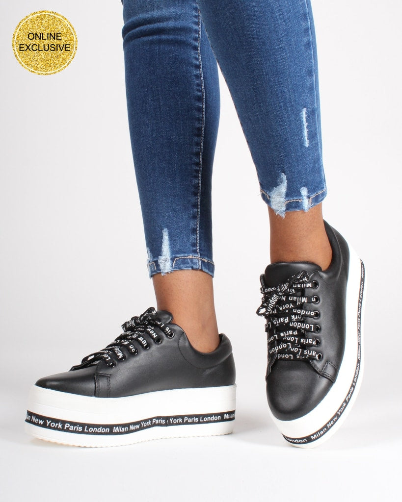 Around The World Platform Sneakers 5 / Black Shoes