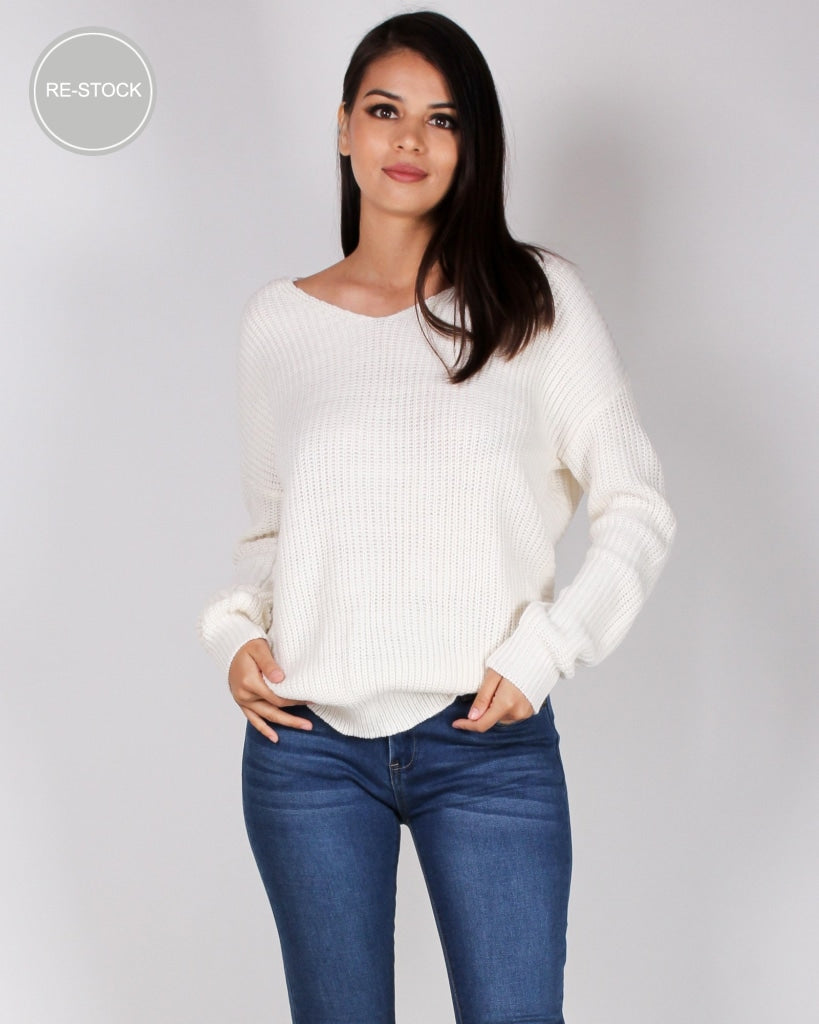 Autumn Is Calling Knit Sweater (Ivory) Ivory / S Tops