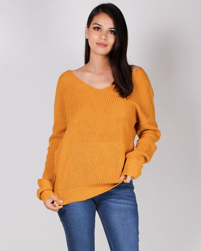Autumn Is Calling Knit Sweater (Mustard) Mustard / S Tops