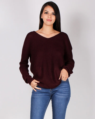 Autumn Is Calling Knit Sweater (Plum) Plum / S Tops