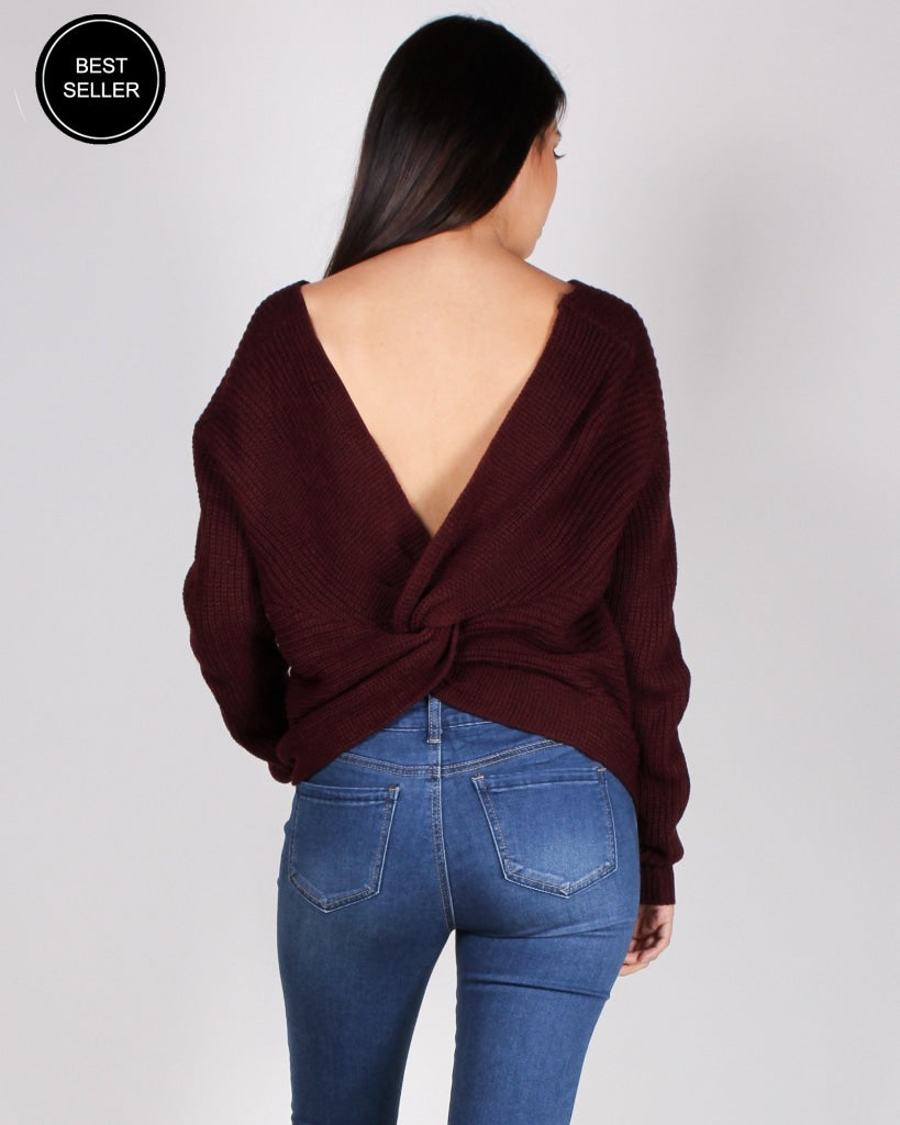 Autumn Is Calling Knit Sweater (Plum) Tops