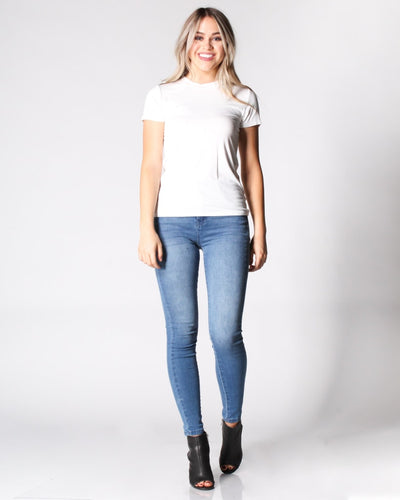 Basic Round Neck Fitted T-Shirt Top