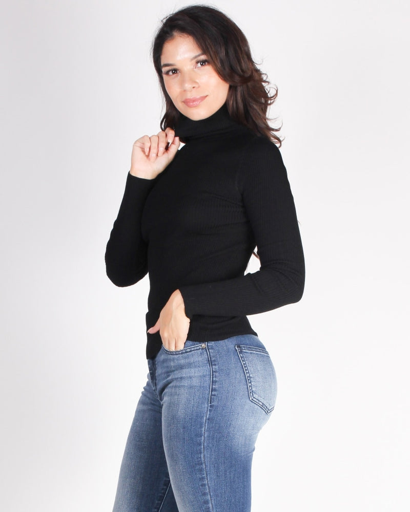 Be Your Potential Long Sleeve Turtleneck Top (Black) Black / S Tops