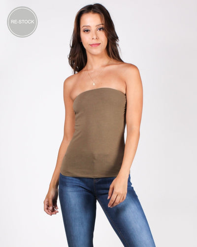 Beautiful Things Await Tube Top (Dusty Army) Dusty Army / S Tops