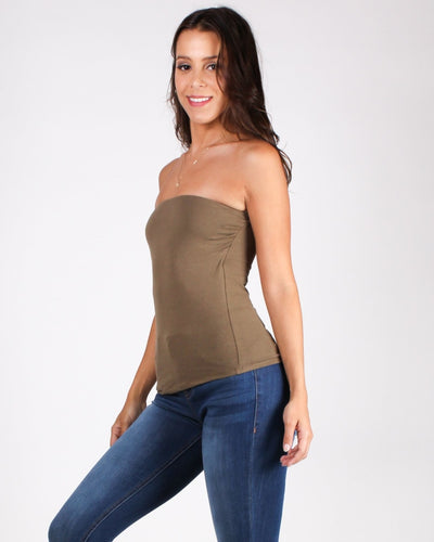 Beautiful Things Await Tube Top (Dusty Army) Tops