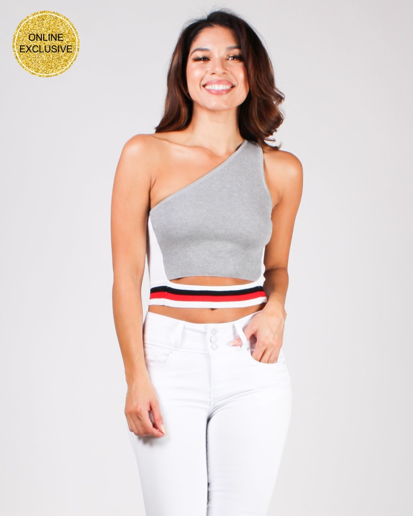 Best View Remains Here Asymmetrical Crop Top Grey / S Tops