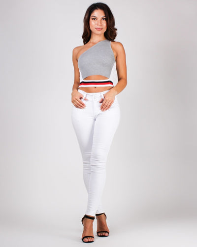 Best View Remains Here Asymmetrical Crop Top Tops