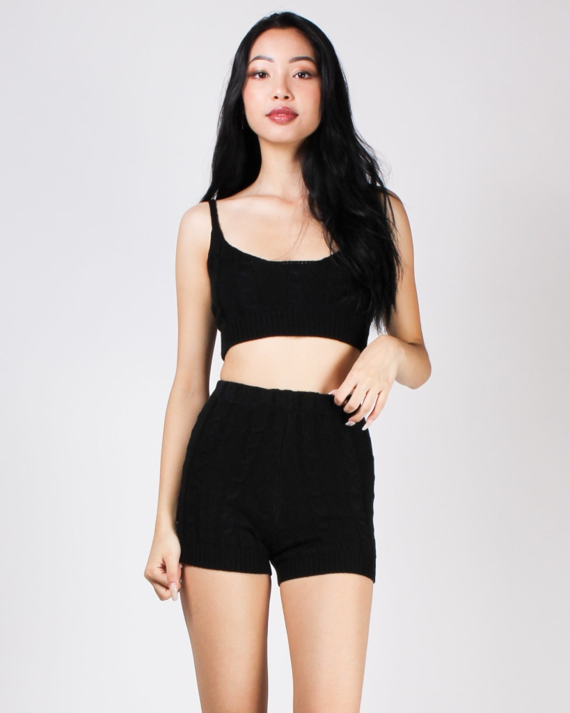 Better With You Knit Crop And Shorts Set Black / S
