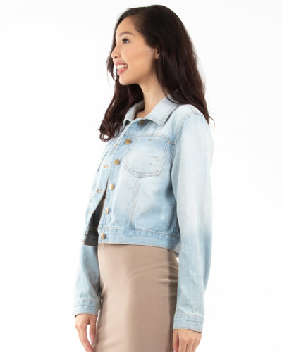Billie Jean Distressed Denim Jacket With Front Pockets Outerwear