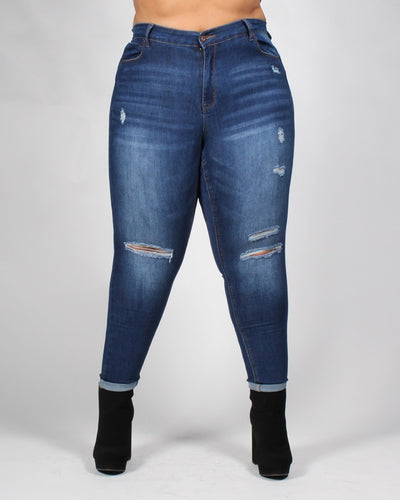 Bombastic Love Distressed Plus Jeans 14 / Dark Bottoms