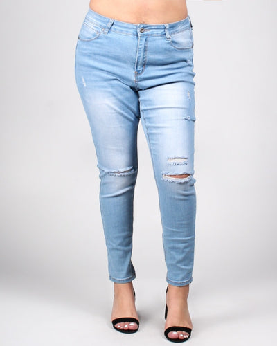 Bombastic Love Distressed Plus Jeans 14 / Light Bottoms