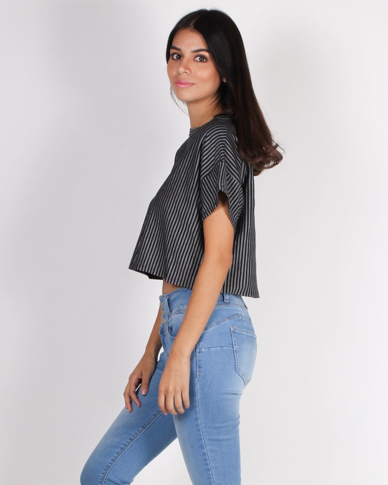 Boo Stripe On Crop Top (Black) Black / S Tops