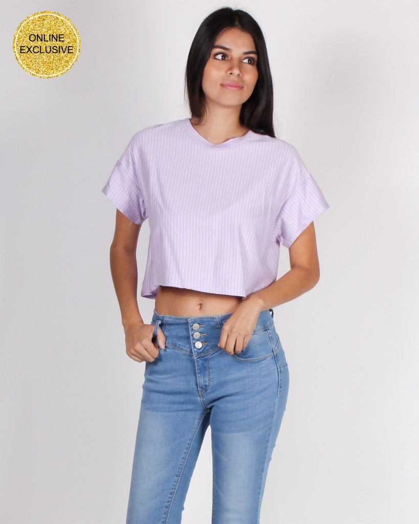 Fashion Q Shop Q Boo Boo Stripe On Crop Top JT36987VS