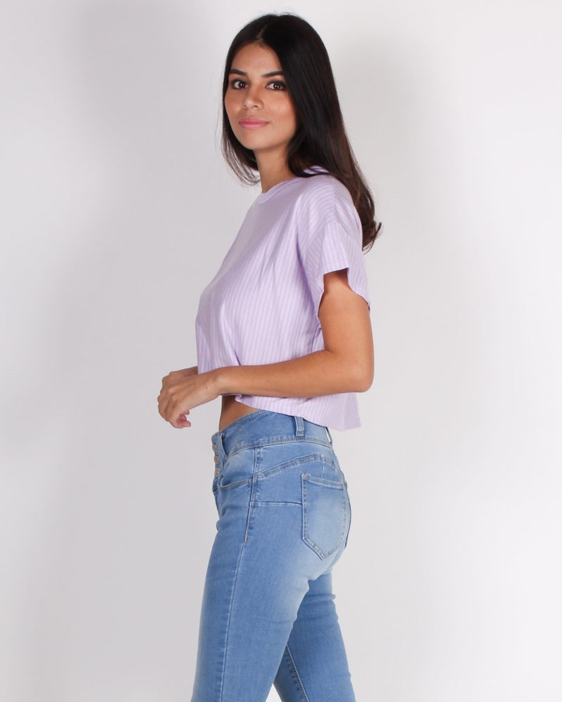 Boo Stripe On Crop Top (Lavender) Lavender / S Tops