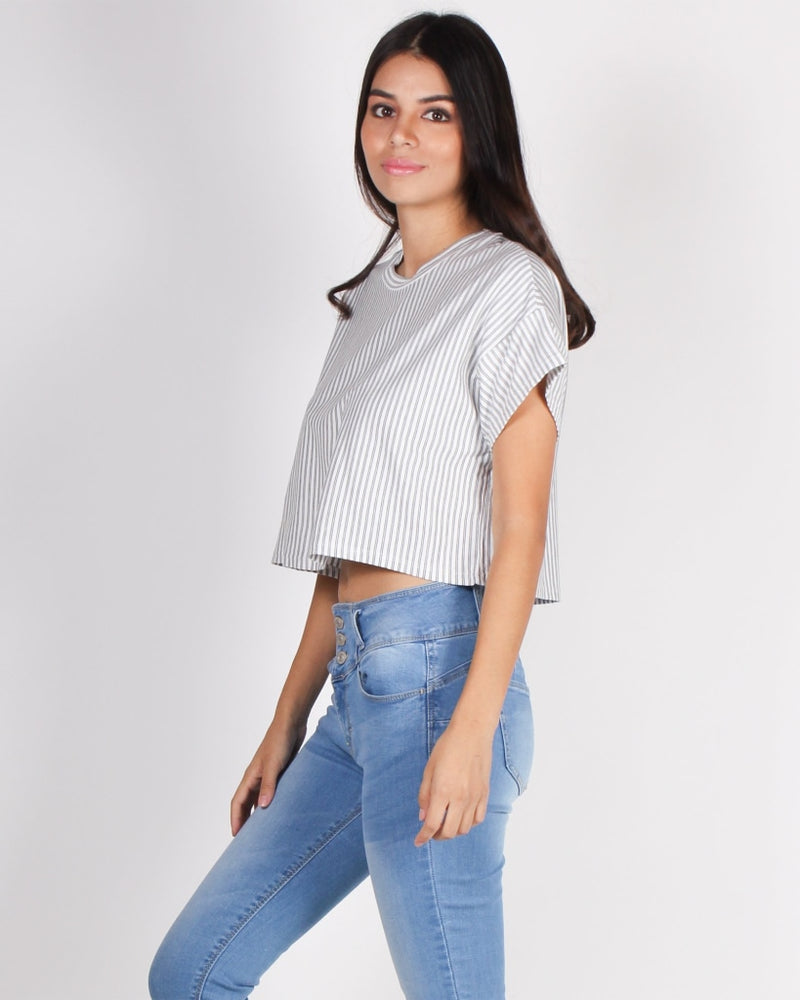 Boo Stripe On Crop Top (White) White / S Tops